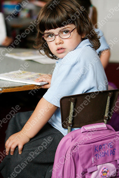 Katie Thomas made sure noone would take her school bag home by mistake at her first day of school in Doolin N.S on Wednesday.<br /><br /><br /><br />Photograph by Yvonne Vaughan.