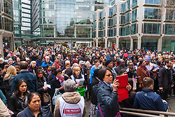 Hundreds of Christians in London take part in the interdenominational Methodist, Anglican and Catholic March of Witness in Westminster. PICTURED: The crowd gathers in the Westminster Cathedral piaza to listen to Cardinal Vincent Nichols, Archbishop of Westminster before continuing on their way to Westminster Abbey.