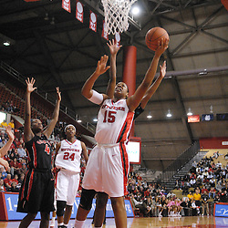 Dec 7, 2008; Piscataway, NJ, USA; Rutgers center Kia Vaughn (15)  puts up a basket during the second half of Rutgers' 45-34 victory over Georgia in the Jimmy V Classic at Louis Brown Athletic Center.