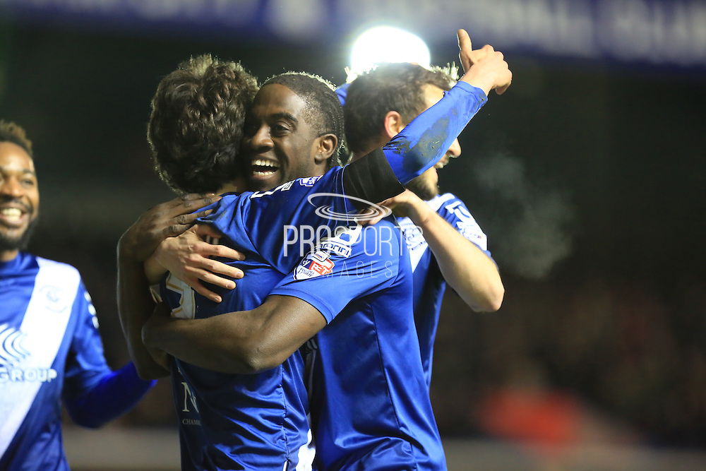 Diego Fabbrini, Will Buckley celebrate with Clayton Donaldson Goal during the Sky Bet Championship match between Birmingham City and Bolton Wanderers at St Andrews, Birmingham, England on 23 February 2016. Photo by Daniel Youngs.
