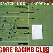 The scratchings board during a day at the Races at the Gore Race Meeting, Gore, Southland, New Zealand. 18th December 2011. Photo Tim Clayton