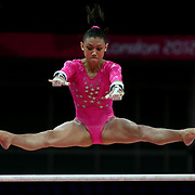Kyla Ross,USA, in action on the uneven bars during the Women's Artistic Gymnastics podium training at North Greenwich Arena during the London 2012 Olympic games preparation at the London Olympics. London, UK. 26th July 2012. Photo Tim Clayton