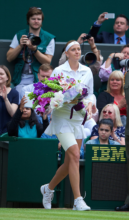 LONDON, ENGLAND - Saturday, July 5, 2014: Petra Kvitova (CZE) walks onto centre court before the Ladies' Singles Final match on day twelve of the Wimbledon Lawn Tennis Championships at the All England Lawn Tennis and Croquet Club. (Pic by David Rawcliffe/Propaganda)
