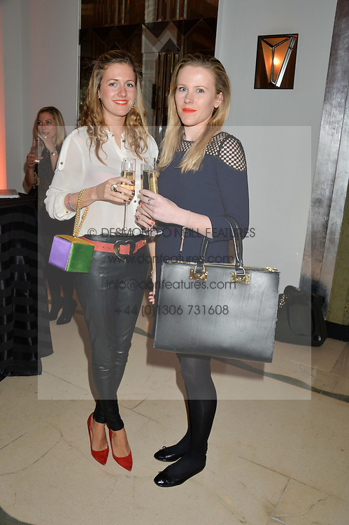 Left to right, SOPHIE HUE-WILLIAMS and EMMA LESLIE-MILLER at a reception hosted by Wei Koh founder of The Rake Magazine and Thomas Kochs General Manager of Claridge's to celebrate London Collections: Man 2014 at Claridge's, Brook Street, London on 5th January 2014.