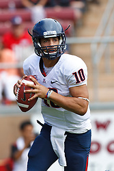 PALO ALTO, CA - OCTOBER 06: Quarterback Matt Scott #10 of the Arizona Wildcats stands in the pocket against the Stanford Cardinal during the first quarter at Stanford Stadium on October 6, 2012 in Palo Alto, California. The Stanford Cardinal defeated the Arizona Wildcats 54-48 in overtime. (Photo by Jason O. Watson/Getty Images) *** Local Caption *** Matt Scott