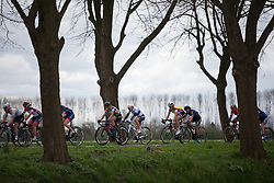 The peloton is strung out by constant attacks in the third lap duringStage 4 of the Healthy Ageing Tour - a 126.6 km road race, starting and finishing in Finsterwolde on April 8, 2017, in Groeningen, Netherlands.