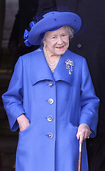 Royals in Sandringham..The Queen Mother after the service on Christmas Day at church in Sandringham, Photo by Andrew Parsons/i-Images.Queen Mother at Sandringham attending church service on Christmas Day 2000. Photo by Andrew Parsons/i-Images.