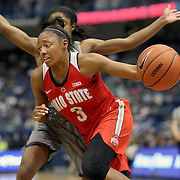 HARTFORD, CONNECTICUT- DECEMBER 19: Kelsey Mitchell #3 of the Ohio State Buckeyes defended by Crystal Dangerfield #5 of the Connecticut Huskies during the UConn Huskies Vs Ohio State Buckeyes, NCAA Women's Basketball game on December 19th, 2016 at the XL Center, Hartford, Connecticut (Photo by Tim Clayton/Corbis via Getty Images)