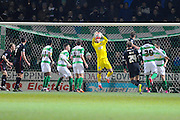 Yeovil Town's Artur Krysiak catches the ball during a Carlisle attack during the The FA Cup Third Round Replay match between Yeovil Town and Carlisle United at Huish Park, Yeovil, England on 19 January 2016. Photo by Graham Hunt.