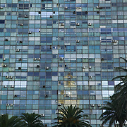 Nothing but windows on the Edificio Ciudadela with palm trees, Plaza de la Independencia on the Avenida 18 de Julio, Montevideo, Uruguay, South America