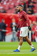 Arsenal forward Alexandre Lacazette (9) warms up prior to the Europa League semi-final leg 1 of 2 match between Arsenal and Valencia CF at the Emirates Stadium, London, England on 2 May 2019.