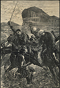 Zulu War: Disaster at Isandhlwana (Isandula) - Lieutenants Melville and Coghill attempting to rescue the British colours. They died fighting, their horses killed from under them, 21 January 1879.