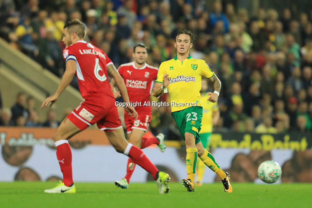 August 8th 2017, Carrow Road, Norwich, England; Carabao Cup First Round; Norwich City versus Swindon Town; James Maddison of Norwich City passes the ball