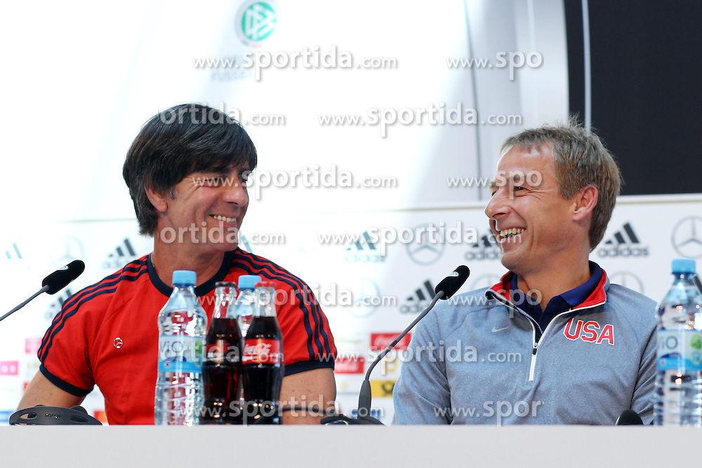 09.06.2015, Mercedes Center, Koeln, GER, FS Vorbereitung, Testspiel, Deutschland vs USA, Pressekonferenz, im Bild National-, Bundestrainer Joachim &quot;Jogi&quot; Loew und Juergen Klinsmann (Nationaltrainer USA) // during a press conference prior to the international friendly football match between Germany and USA Mercedes Center in Koeln, Germany on 2015/06/09. EXPA Pictures &copy; 2015, PhotoCredit: EXPA/ Eibner-Pressefoto/ Schueler<br /> <br /> *****ATTENTION - OUT of GER*****