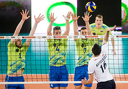 Toncek Stern, Jan Kozamernik and Matej Kok of Slovenia vs Nutsubidze of Georgia during volleyball match between National teams of Slovenia and Georgia in 2nd Round of 2018 FIVB Volleyball Men's World Championship qualification, on May 24, 2017 in Arena Stozice, Ljubljana, Slovenia. Photo by Vid Ponikvar / Sportida