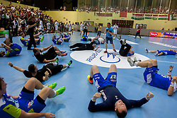 Players of team Slovenia after handball match between National teams of Slovenia and Hungary in play off of 2015 Men's World Championship Qualifications on June 15, 2014 in Rdeca dvorana, Velenje, Slovenia. Photo by Urban Urbanc / Sportida