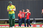 Tom Curran celebrates the wicket of Heinrich Klassen during the International T20 match between South Africa and England at Supersport Park, Centurion, South Africa on 16 February 2020.