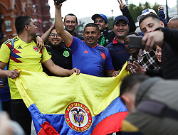 Columbian football fans near Red Square in Moscow, Russia, ahead of the the run up to the first game of the 2018 World Cup.