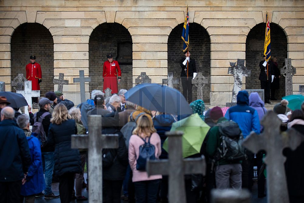 © Licensed to London News Pictures. 07/11/2018. London, UK. Chelsea Pensioners take part in a ceremony at Brompton Cemetery as a plaque is unveiled as a memorial to all Royal Parks gardens and grounds staff who died in WW1. Photo credit: Rob Pinney/LNP