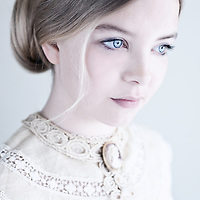 Close up of young girl with blonde hair