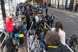 London, June 9th 2017. The world's media gather outside 10 Downing Street in London, official residence of the British Prime Minister Theresa May who is expected at some point in the day to make a statement following the hung Parliament result that sees the Tories' majority of 17 seats cut to nothing.