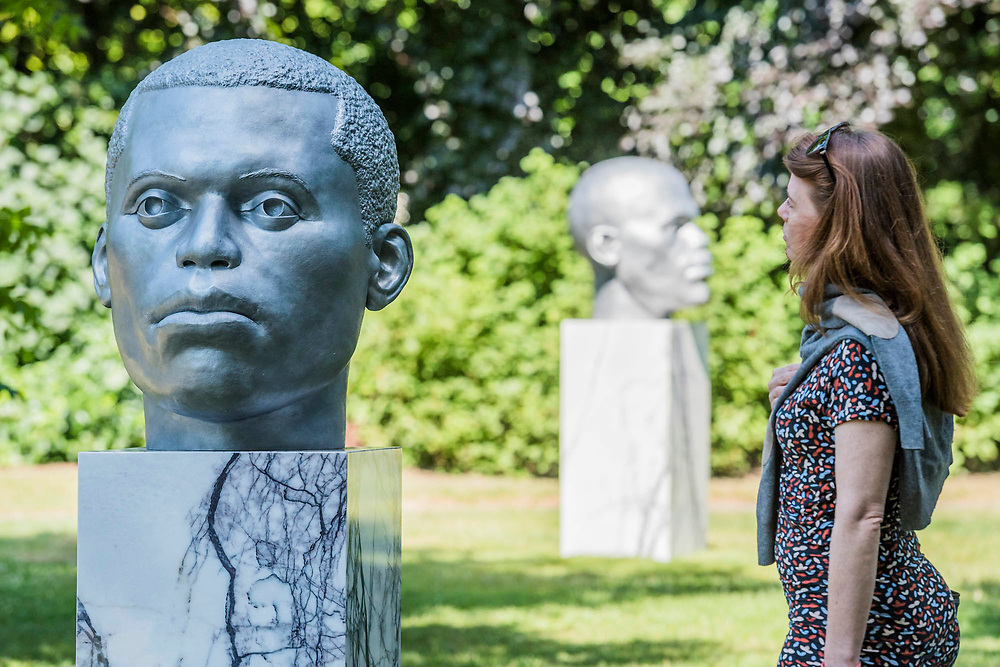 Thomas J Price, Numen (Shifting Votive One, Two and Three)(2016) - The Frieze Sculpture Park 2017 comprises large-scale works, set in the English Gardens . The installations will remain on view until 8 Oct 2017.