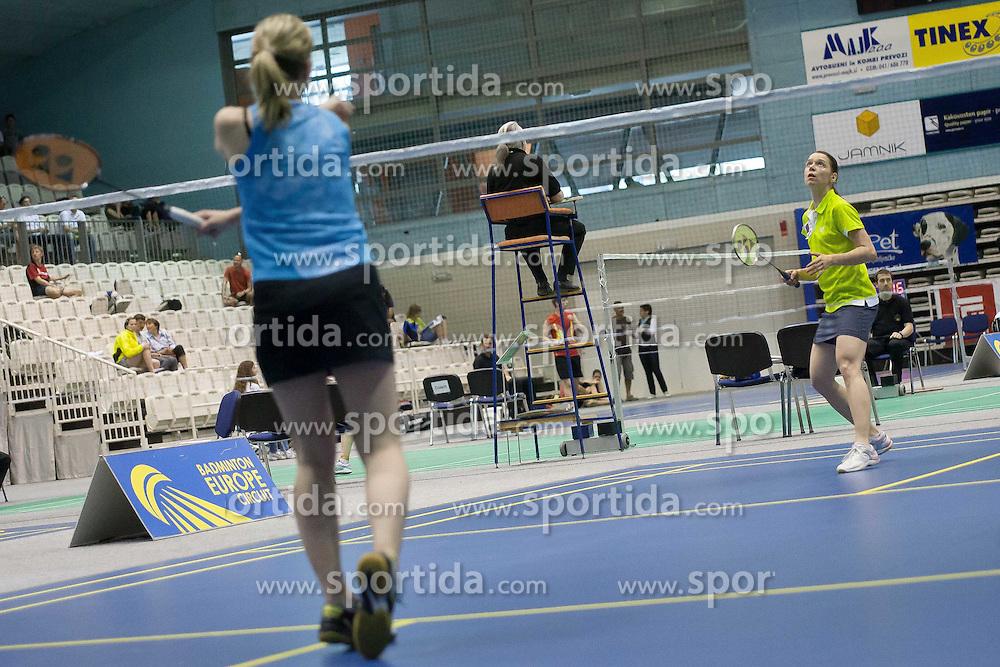 Maja Tvrdy of Slovenia vs Katerina Tomalova of Czech during match Slovenia Open Badminton tournament 2012, on May 11, 2012, in Medvode, Slovenia. (Photo by Grega Valancic / Sportida.com)