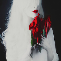Stylised white young adult female with red lips holding dying poinsettia leaves