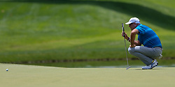June 22, 2018 - Cromwell, Connecticut, United States - Stewart Cink lines up a putt on the 8th green during the second round of the Travelers Championship at TPC River Highlands. (Credit Image: © Debby Wong via ZUMA Wire)