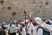 Israel, Jerusalem Wailing Wall, Blowing a shofar