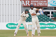 Ned Eckersley batting during the Specsavers County Champ Div 2 match between Leicestershire County Cricket Club and Durham County Cricket Club at the Fischer County Ground, Grace Road, Leicester, United Kingdom on 9 July 2019.