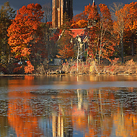 Wellesley College, showing its iconic Galen Stone Tower and the William S. Houghton Memorial Chapel on a beautiful afternoon in late New England fall. Autumn foliage colors and the historic building are reflected in a calm Lake Waban. Wellesley College is a private, women's, liberal-arts college located in the town of Wellesley, Massachusetts and it is ranked the third best liberal arts college in the United States. Notable alumnae include Hillary Clinton, Madeleine Albright, Soong Mei-ling, Cokie Roberts, and Diane Sawyer. It's most famous student is Hillary Rodham Clinton, Class of 1969. Hillary Rodham Clinton is currently running for president of the United States aiming to make history and becoming the first female US president. <br />