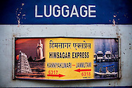 Signboard of the Himsagar Express on the Luggage Car.. .6318 / Himsagar Express, India's longest single train journey, spanning 3720 kms, going from the mountains (Hima) to the seas (Sagar), from Jammu and Kashmir state of the Indian Himalayas to Kanyakumari, which is the southern most tip of India...Photo by Suzanne Lee / for The National