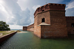 Moat surrounding brick walls of Fort Jefferson, Dry Tortugas National Park, Florida, United States of America