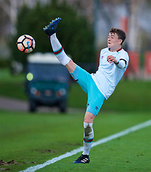 KIRKBY, ENGLAND - Friday, March 31, 2017: West Ham United's Alfie Lewis in action against Liverpool during an Under-18 FA Premier League Merit Group A match at the Kirkby Academy. (Pic by David Rawcliffe/Propaganda)