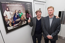 """© Licensed to London News Pictures . FILE PICTURE DATED 22/04/2013 . Cornerhouse Cinema , Oxford Road , Manchester , UK . STEVE COOGAN and writer MATT GREENHALGH attend a preview screening of new film """" The Look of Love """" in Manchester , UK , this evening (Monday 22nd April 2013) . Coogan damaged the nail on his thumb following an accident when closing a window , he said . He plays the lead as club impresario Paul Raymond. Photo credit : LNP"""