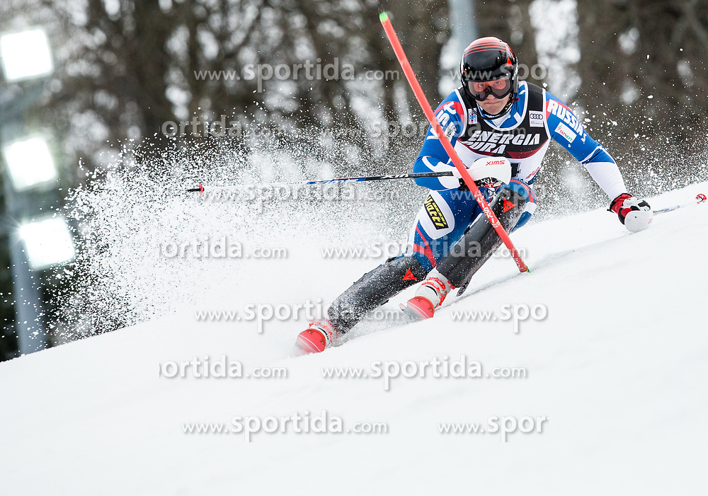"""Pavel Trikhichev (RUS) competes during 1st Run of FIS Alpine Ski World Cup 2017/18 Men's Slalom race named """"Snow Queen Trophy 2018"""", on January 4, 2018 in Course Crveni Spust at Sljeme hill, Zagreb, Croatia. Photo by Vid Ponikvar / Sportida"""