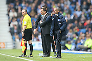 Brighton Manager, Chris Hughton and Derby County head coach Darren Wassall during the Sky Bet Championship match between Brighton and Hove Albion and Derby County at the American Express Community Stadium, Brighton and Hove, England on 2 May 2016.