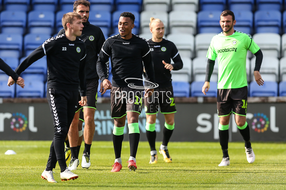 FGR players warming up during the EFL Sky Bet League 2 match between Macclesfield Town and Forest Green Rovers at Moss Rose, Macclesfield, United Kingdom on 29 September 2018.