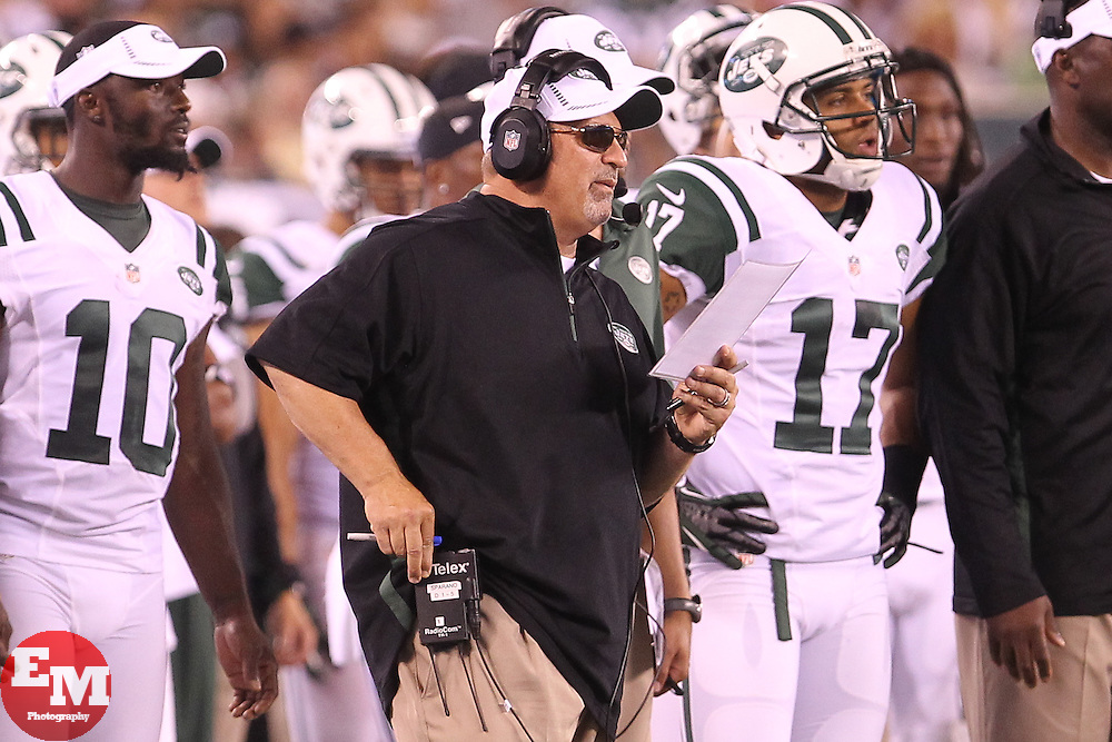 Aug 26, 2012; East Rutherford, NJ, USA; New York Jets offensive coordinator Tony Sparano during the second half at MetLife Stadium. The Panthers defeated the Jets 17-12.