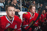 KELOWNA, CANADA - APRIL 25: Brendan Leipsic #28 and Paul Bittner #7 of the Portland Winterhawks sit on the bench at the # of the Kelowna Rockets on April 25, 2014 during Game 5 of the third round of WHL Playoffs at Prospera Place in Kelowna, British Columbia, Canada. The Portland Winterhawks won 7 - 3 and took the Western Conference Championship for the fourth year in a row earning them a place in the WHL final.  (Photo by Marissa Baecker/Getty Images)  *** Local Caption *** Brendan Leipsic; Paul Bittner;