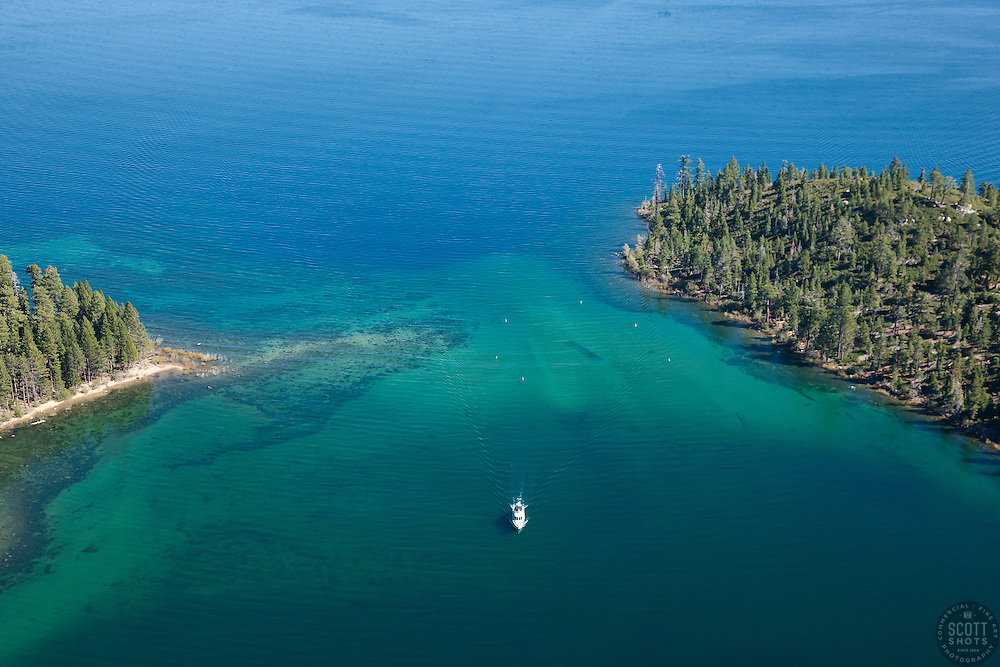 """""""Emerald Bay Entrance Aerial"""" - This boat was photographed at the entrance of Emerald Bay in Lake Tahoe. Shot from an amphibious seaplane with the door removed."""
