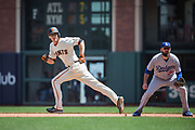 San Francisco Giants second baseman Kelby Tomlinson (37) runs to second base against the Los Angeles Dodgers at AT&T Park in San Francisco, California, on April 27, 2017. (Stan Olszewski/Special to S.F. Examiner)