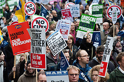 © licensed to London News Pictures. London, UK. 30/11/11. Trade union march and ralley from lincoln's inn fields to the Embankement takes place. Public sector strike action takes place over pensions.. Photo credit: Jules Mattsson/LNP