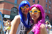 "Revelers share a ""Hello Sunny"" moment during the New York Gay Pride Parade, Sunday, June 29, 2014.  (Photo by Diane Bondareff/Invision for Greater Fort Lauderdale Convention & Visitors Bureau/AP Images)"