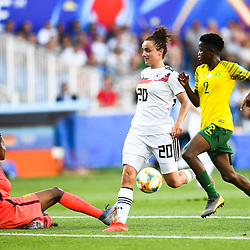 Andile Dlamini of South Africa and Lina Magull of Germany and Lebohang Ramalepe of South Africa during the Women's World Cup match between Germany and South Africa at Stade de la Mosson on June 17, 2019 in Montpellier, France. (Photo by Alexandre Dimou/Icon Sport)