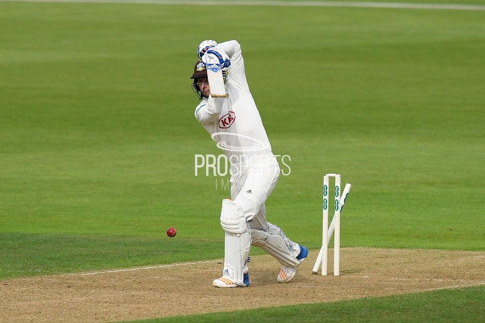 Wicket - Tom Curran of Surrey is bowled by Gareth Berg of Hampshire during the Specsavers County Champ Div 1 match between Hampshire County Cricket Club and Surrey County Cricket Club at the Ageas Bowl, Southampton, United Kingdom on 6 September 2017. Photo by Graham Hunt.