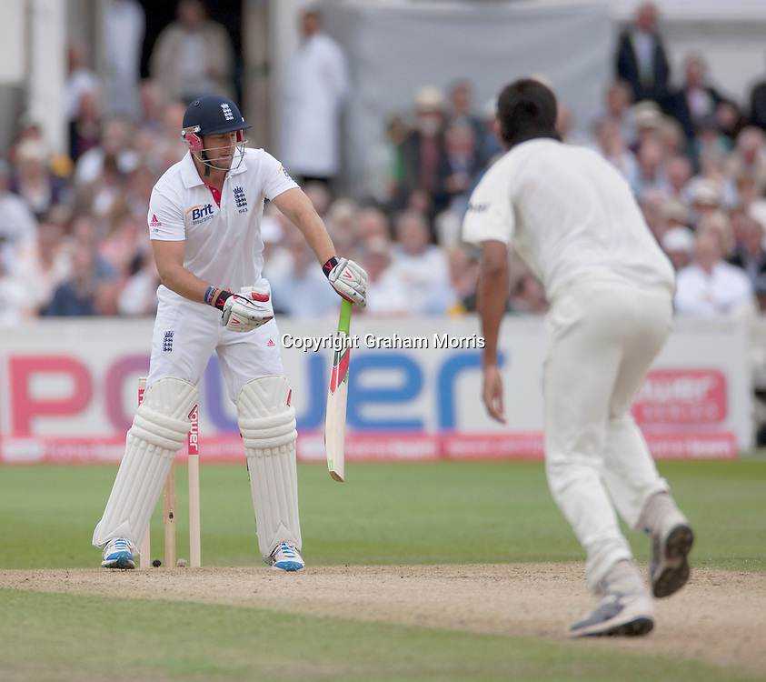 Tim Bresnan is out off the bowling of Ishant Sharma during the second npower Test Match between England and India at Trent Bridge, Nottingham.  Photo: Graham Morris (Tel: +44(0)20 8969 4192 Email: sales@cricketpix.com) 29/07/11