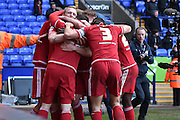 Middlesbrough Forward,  Jordan Rhodes celebrates his goal during the Sky Bet Championship match between Bolton Wanderers and Middlesbrough at the Macron Stadium, Bolton, England on 16 April 2016. Photo by Mark Pollitt.