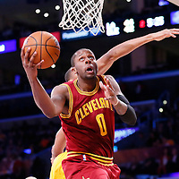 14 January 2014: Cleveland Cavaliers shooting guard C.J. Miles (0) goes for the layup during the Cleveland Cavaliers 120-118 victory over the Los Angeles Lakers at the Staples Center, Los Angeles, California, USA.